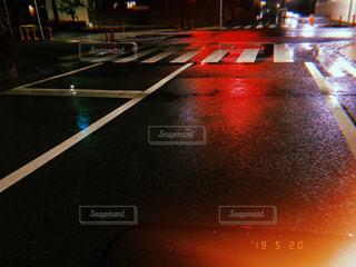 夜,雨,信号,交差点