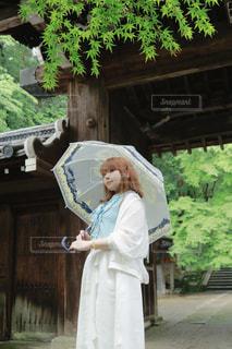 女性,傘,屋外,神社,人物,人,ポートレート,梅雨,雨の日