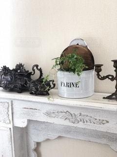 アトリエのマントルピースをグリーンや雑貨で飾っての写真・画像素材[2725825]
