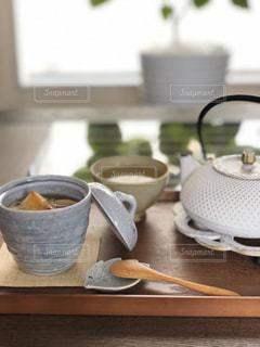 お汁粉とお茶の写真・画像素材[2995036]