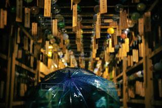 夏,雨,傘,神社,青,水,風鈴,雫,ビニール傘