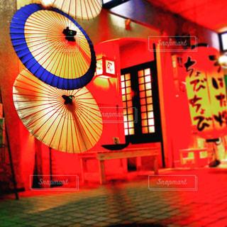 夜,傘,屋外,赤,和,酒,古風,赤提灯