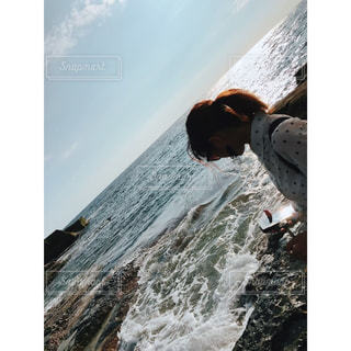 女性,自然,波,水面