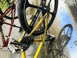 自転車,雨,屋外,水たまり,雨上がり,梅雨,洗う