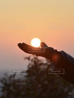 黄色い夕焼けを持つ手の写真・画像素材[2681725]
