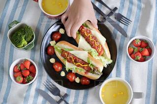 食べ物,食事,ランチ,屋内,テーブル,果物,トマト,野菜,皿,健康的,サラダ,贅沢ランチ,ホットドッグ,ファストフード,大皿,ジョンソンヴィル