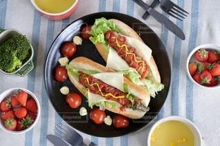食べ物,食事,ランチ,テーブル,果物,トマト,野菜,皿,健康的,サラダ,贅沢ランチ,ホットドッグ,食材,ファストフード,大皿,ジョンソンヴィル