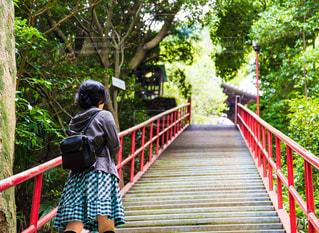 香川県弥谷寺の階段を登る女性の写真・画像素材[2185320]