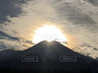 自然,空,富士山,太陽,雲,山,光,日の入,ダイヤモンド富士