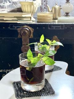 飲み物,アイスコーヒー,爽やか,グラス,乾杯,テーブルフォト,美味しい,ミント,ドリンク,ひと休み,チアーズ,フードフォト