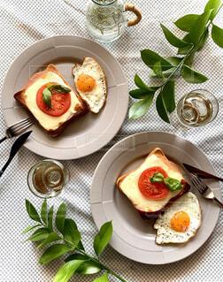トマトとチーズのオープンサンドの写真・画像素材[4333459]