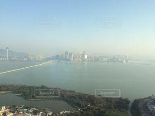 風景,海,橋,ビル,観光,旅行,マカオ,海外旅行,ビル街,霞
