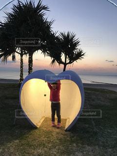 ビーチ,沖縄,ハート,サンセット