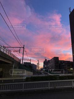 空,ビル,屋外,雲,散歩,朝焼け,朝