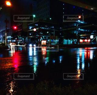 風景,夜景,道路,梅雨,天気,雨の日