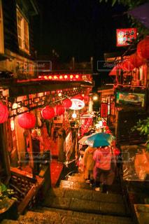 夜,雨,屋外,台湾,九份,雨の日