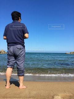 海,地平線,父