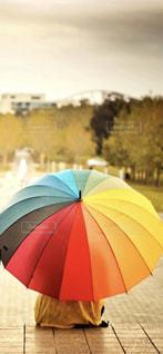 雨,傘,屋外,鮮やか,t