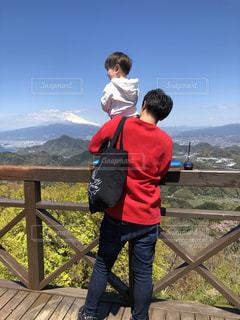 空,富士山,雲,山,景色,子供,人物,人,肩車,展望台,ハイキング,パパ,男の子,お父さん,父の日