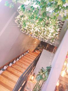 頭の上はお花畑な木目階段の写真・画像素材[2207791]