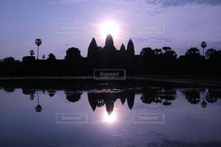 朝日,水面,旅行,日の出,カンボジア,逆さ,シェムリアップ,アンコール・ワット