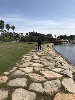 子ども,風景,屋外,湖,親子,歩く,散歩,水辺,子供,こども,父親,パパ,お散歩,父,娘,湖畔,散策,手を繋ぐ,パパと娘