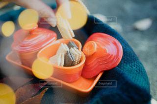 公園でビスケットを食べながらお茶する秋の写真・画像素材[2793571]