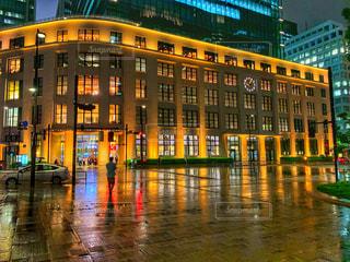 建物,夜,水面,反射,都会