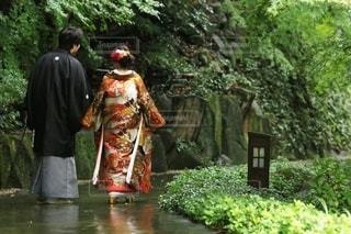 風景,カップル,雨,屋外,後ろ姿,結婚式,夫婦,思い出,前撮り,アルバム,和装,雨の日