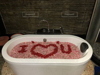 屋内,ピンク,赤,フラワー,お花,ハート,お風呂,海外旅行,バリ島,スパ,マーク