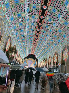 夜,雨,傘,屋外,綺麗,イルミネーション,都会,道,神戸,通り