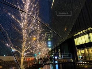 空,建物,夜,ビル,傘,樹木,イルミネーション,都会,道,高層ビル,グランフロント大阪,シャンパンゴールド