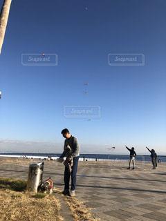 男性,犬,海,空,公園,晴れ,青空,散歩,海岸,男,人物,人,風,少年,シュナウザー,凧揚げ,凧,高い
