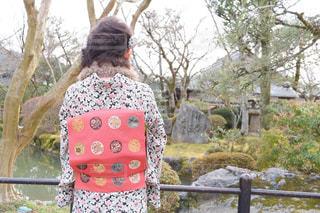 女性,空,庭,屋外,緑,赤,青空,後ろ姿,散歩,池,樹木,着物,人