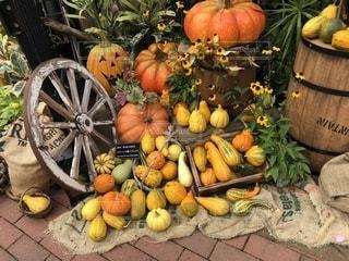 花と布とかぼちゃの装飾の写真・画像素材[2563982]