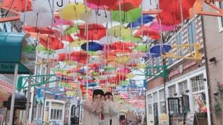 傘,カラフル,レインボー,デート