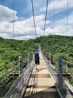 空,橋,屋外,雲,晴れ,山,レジャー,吊り橋,天気,お散歩