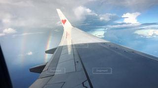 自然,空,屋外,飛行機,虹,ハート,航空機,雲の上,空気,フライト,窓の外,マーク,クラウド
