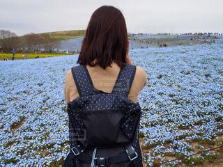 女性,風景,公園,花,屋外,景色,旅行,ブルー,ネモフィラ,茨城,自分,セルフショット