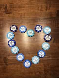 屋内,青,テーブル,ハート,折り紙,ダリア