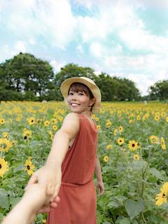 ひまわり畑で手を繋ぐ女性の写真・画像素材[2326505]
