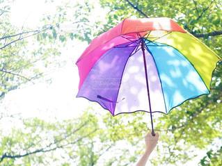 カラフルな傘を持った人の手の写真・画像素材[2382189]