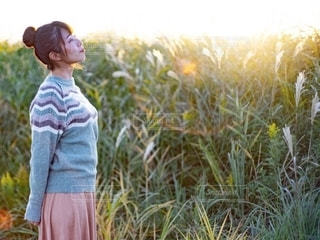 ススキの草原の前で立っている女性の写真・画像素材[2731688]
