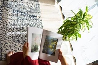 リビングで雑誌を読む女性の手の写真・画像素材[2775388]