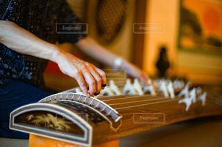 琴を演奏している人物の手のクローズアップの写真・画像素材[2876241]
