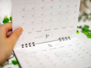 卓上カレンダーをめぐる女性の手の写真・画像素材[3026170]
