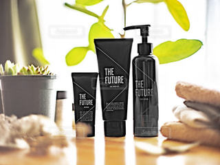 the future3点とフェイスタオルと観葉植物の写真・画像素材[3124213]