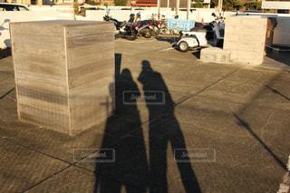 2人,バイク,夕方,影,ツーショット,2ショット