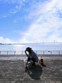 虹と座る女と2匹の犬の写真・画像素材[4541963]