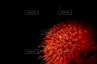 空に上がった赤い花火のズームの写真・画像素材[4659803]